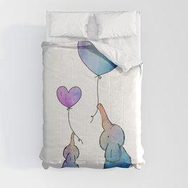 Colorful Watercolor Elephants Love Comforters