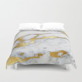 White and Gray Marble and Gold Metal foil Glitter Effect Duvet Cover