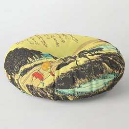 Evening Rain at Azuma Shrine Japan Floor Pillow