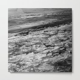 Shattered ice in black and white Metal Print