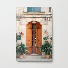 Pretty old door with plants in Valldemossa, Mallorca Metal Print