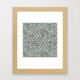 Old Moroccan Tiles Pattern Teal Beige Distressed Style Framed Art Print