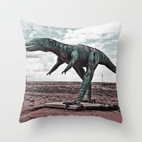dino Throw Pillows featuring Dino by Nick Douillard