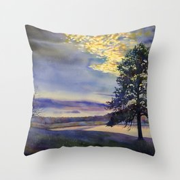 Colorful sunset silhouetting trees and lake.  Watercolor landscape artwork tree painting Throw Pillow