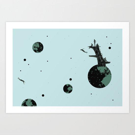 night. diving. Art Print