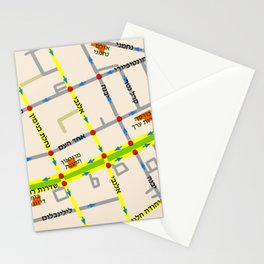 Tel Aviv map - Rothschild Blvd. Hebrew Stationery Cards