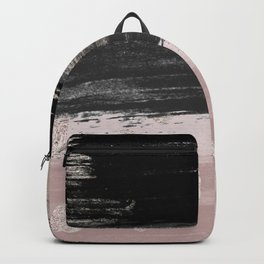 Abstract blush pink black gray gold glitter brushstrokes Backpack