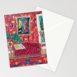 Red Interior with Lion and Tiger after Matisse Stationery Cards