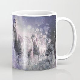 Blue Wild Horses Mixed Media Art Coffee Mug