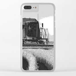 Black & White Harvesting Equipment Pencil Drawing Photo Clear iPhone Case