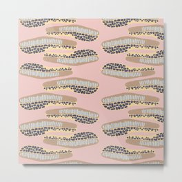 abstract horizontal shapes brown light blue navy blue yellow on a pink background Metal Print