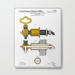 Beer Faucet Patent Metal Print