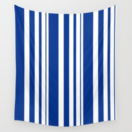 White and blue striped . Wall Tapestry