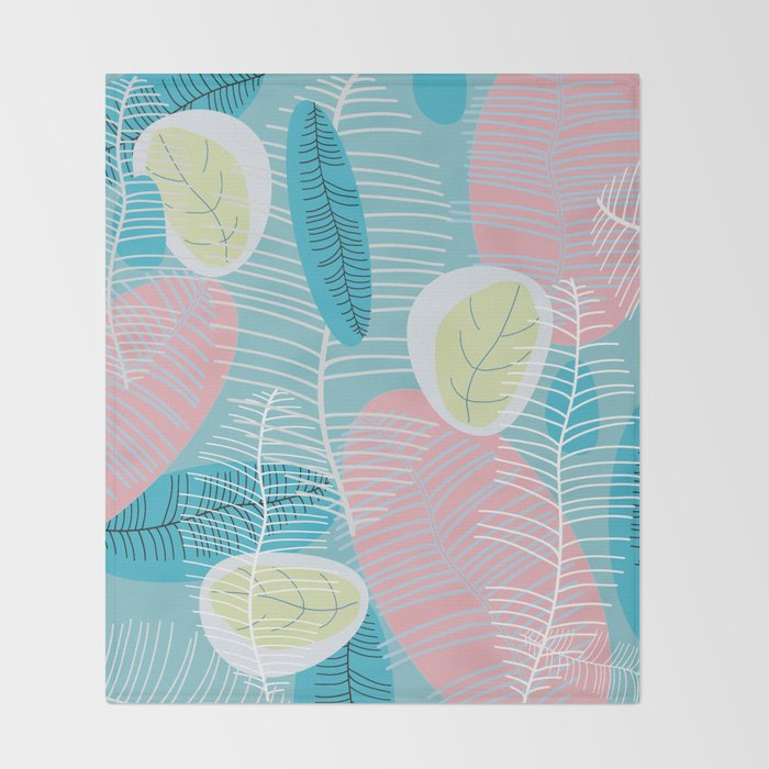 Retro Baby Blue Throw Blanket By Mirimo