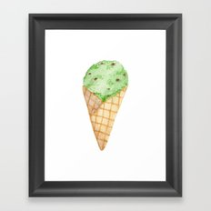 Watercolour Illustrated Ice Cream - Mint Choc Chip Framed Art Print