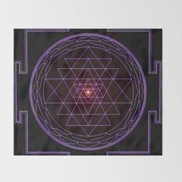 Ultraviolet Sri Yantra Throw Blanket