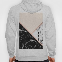 Modern black white marble rose gold color block stripes blush pink Hoody