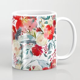 Red teal hand painted boho watercolor roses floral Coffee Mug