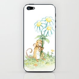 Mouse Holding Flowers iPhone Skin