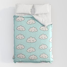 Clouds dreaming in blue with closed eyes and eyelashes Comforters
