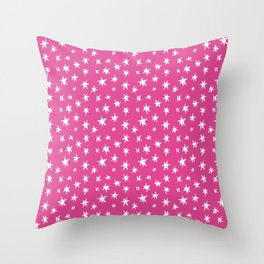 Pink Hand-Painted Wonky Stars Throw Pillow