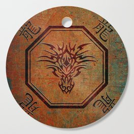 Tribal Dragon Head In Octagon With Dragon Chinese Characters Cutting Board