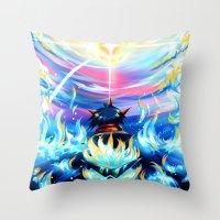 gurren lagann Throw Pillows featuring Gurren Lagann - Burning Soul by Cielo+