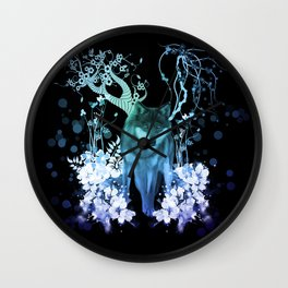 Amazing wolf with flowers, blue colors Wall Clock