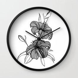 lilies Black & white Wall Clock