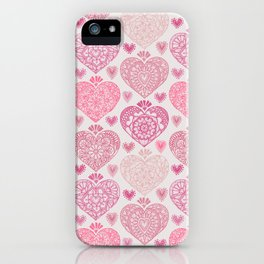 Pink Heart Valentine's Doilies Pattern iPhone Case