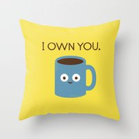 threadless Throw Pillows featuring Coffee Talk by David Olenick