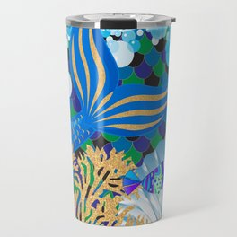 Ocean Blue Mermaid Tail Life Travel Mug