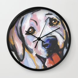 Yellow Lab Labrador Retriever Dog Portrait Pop Art painting by Lea Wall Clock