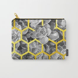 Black and White Succulent Geometric Carry-All Pouch