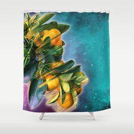 Small fruit tree in outer space Shower Curtain
