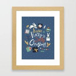 Christmas rabbits Framed Art Print