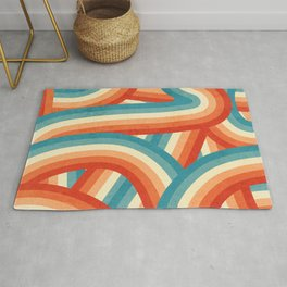 Red, Orange, Blue and Cream 70's Style Rainbow Stripes Rug