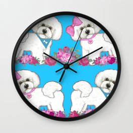 Bichon Frise dogs with roses Wall Clock