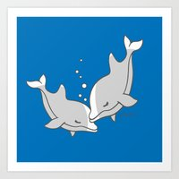 dolphins Art Prints featuring Dolphins by joanfriends