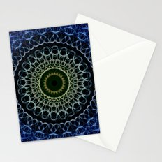 Mandala in deep blue and gold tones. Stationery Cards