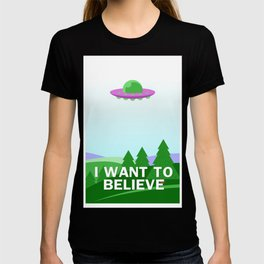 """I want to believe"" cartoon style T-shirt"