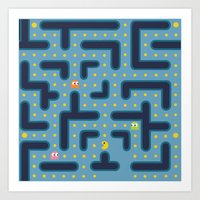 pacman Art Prints featuring RETRO GAME by Vickn