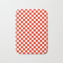 White and Scarlet Red Checkerboard Bath Mat
