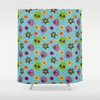 sugar skulls Shower Curtains featuring Sugar Skulls by grrrenadine