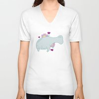 manatee V-neck T-shirts featuring Manatee by Katy Welte