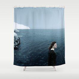 Girl ocean ice mountain Shower Curtain