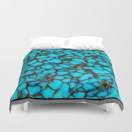 Western Turquoise Blue-Black Spider Web Turquoise Gemstone Duvet Cover