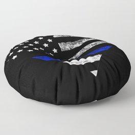 Thin Blue Line Police Officer LEO USA America Flag Heart Gift Cop Sherrif Blue Lives Matter Floor Pillow