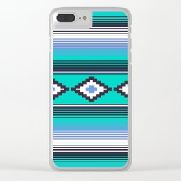 Modern Mexican Serape in Teal Clear iPhone Case