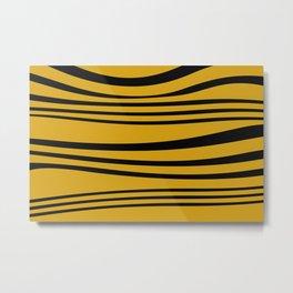 Stripes wave Graphic yellow Metal Print